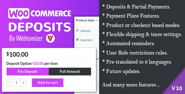 Codecanyon – WooCommerce Deposits – Partial Payments Plugin v3.2.9