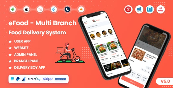 Codecanyon – eFood – Food Delivery App with Laravel Admin Panel Delivery Man App v5.0