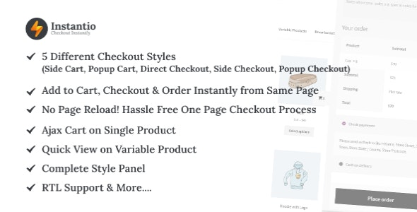 Codecanyon WooCommerce Quick Checkout by Instantio Side Cart Popup Cart and Direct Checkout v2.3.0