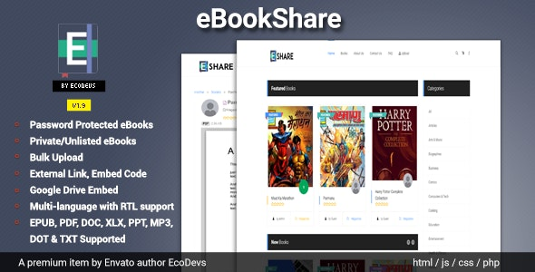 Codecanyon eBookShare eBook hosting and sharing script v1.9.5 Nulled