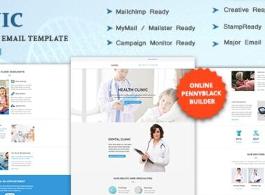 CLINIC Multipurpose Responsive Email Template with Online StampReady Mailchimp Builders 29 July 21