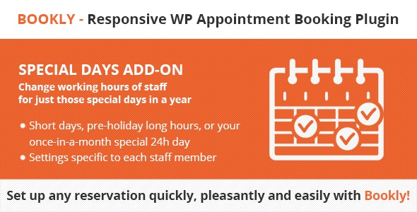 Codecanyon Bookly Special Days Add on v4.4