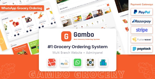 Codecanyon Gambo Online Grocery Ordering System Whatsapp Order v6.0 Nulled