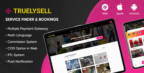 Codecanyon TruelySell On demand Service Marketplace Nearby Service Finder and Bookings Web Android iOS