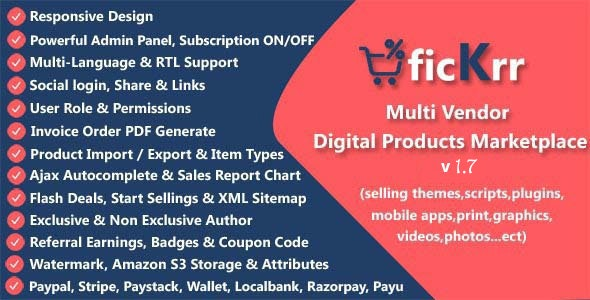 Codecanyon ficKrr Multi Vendor Digital Products Marketplace with Subscription ON OFF v1.7
