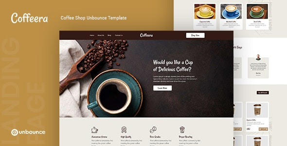 Coffeera — Coffee Shop Unbounce Template v1.0