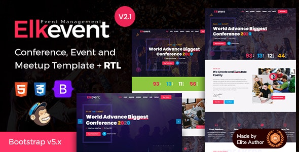 Elkevent Event Conference Meetup HTML Template v2.1