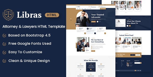 Libras Attorney Lawyers HTML Template